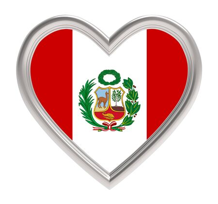 peruvian: Peruvian flag in silver heart isolated on white background. 3D illustration.