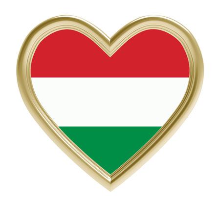 golden heart: Hungarian flag in golden heart isolated on white background. 3D illustration.