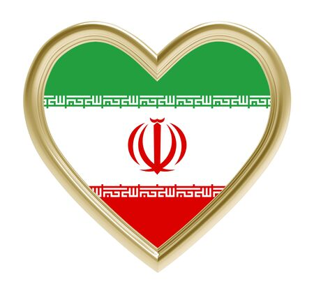 iranian: Iranian flag in golden heart isolated on white background. 3D illustration.