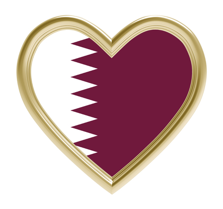 golden heart: Qatari flag in golden heart isolated on white background. 3D illustration.