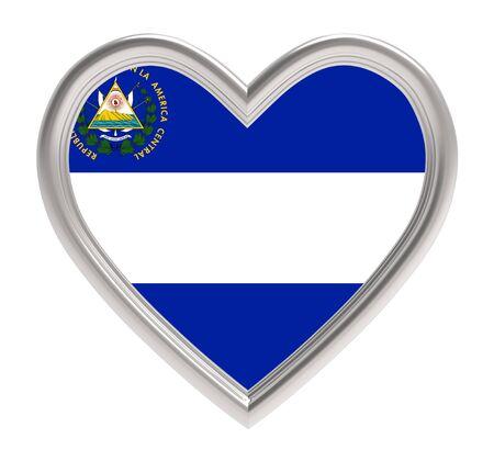 bandera de el salvador: bandera de El Salvador en el corazón de plata aislado en el fondo blanco. Ilustración 3D. Foto de archivo