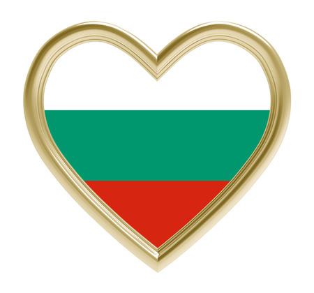 golden heart: Bulgaria flag in golden heart isolated on white background. 3D illustration. Stock Photo