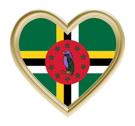 Dominica flag in golden heart isolated on white background. 3D illustration.