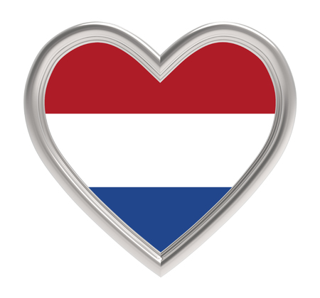 dutch flag: Dutch flag in silver heart isolated on white background. 3D illustration.