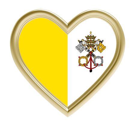 Vatican flag in golden heart isolated on white background. 3D illustration.