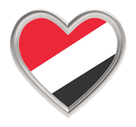 sealand: Sealand flag in silver heart isolated on white background. 3D illustration.