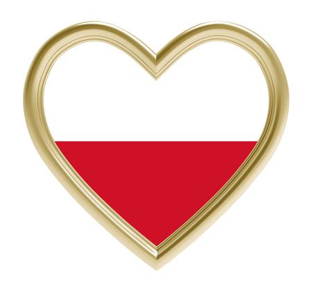 polish flag: Polish flag in golden heart isolated on white background. 3D illustration. Stock Photo