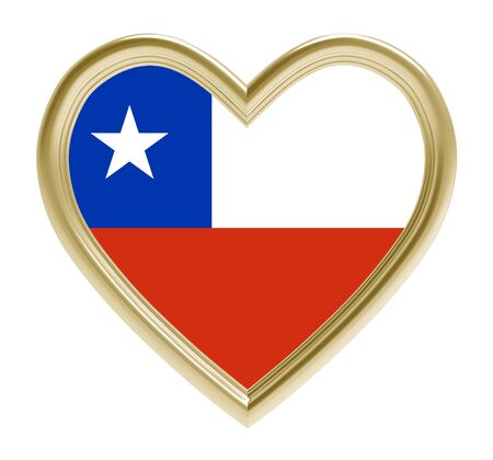bandera de chile: Chile flag in golden heart isolated on white background. 3D illustration. Foto de archivo