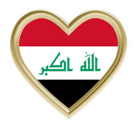 iraqi: Iraqi flag in golden heart isolated on white background. 3D illustration.