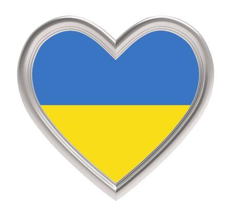 Ukrainian flag in silver heart isolated on white background. 3D illustration.