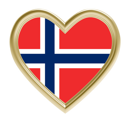 norwegian flag: Norwegian flag in golden heart isolated on white background. 3D illustration.