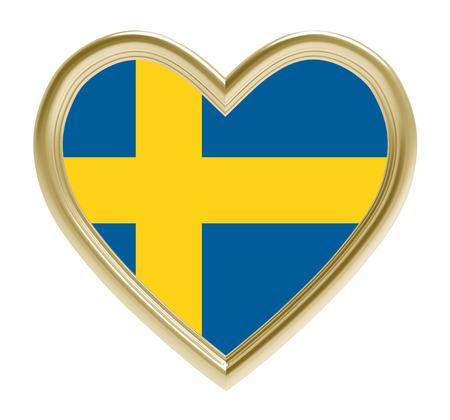 Swedish flag in golden heart isolated on white background. 3D illustration.
