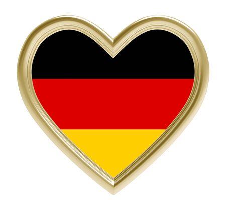 golden heart: German flag in golden heart isolated on white background. 3D illustration.