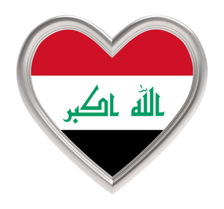 iraqi: Iraqi flag in silver heart isolated on white background. 3D illustration. Stock Photo