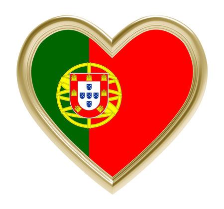 golden heart: Portuguese flag in golden heart isolated on white background. 3D illustration.