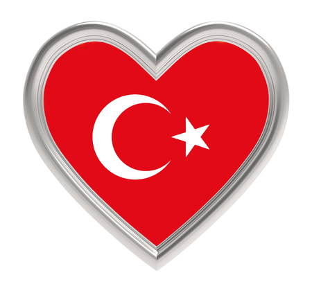 Turkish flag in silver heart isolated on white background. 3D illustration.