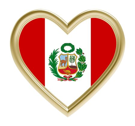 peruvian: Peruvian flag in golden heart isolated on white background. 3D illustration.