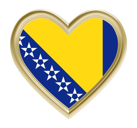 golden heart: Bosnia and Herzegovina flag in golden heart isolated on white background. 3D illustration.