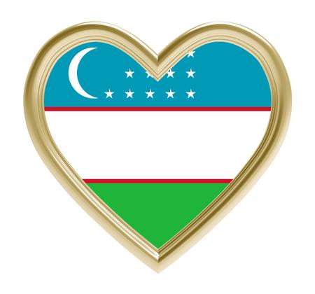 golden heart: Uzbek flag in golden heart isolated on white background. 3D illustration.