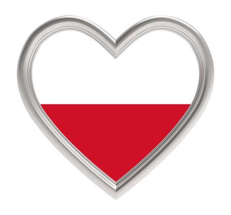 polish flag: Polish flag in silver heart isolated on white background. 3D illustration. Stock Photo