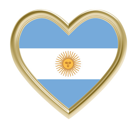 golden heart: Argentine flag in golden heart isolated on white background. 3D illustration.