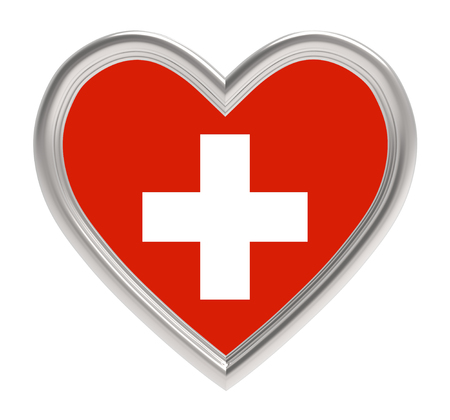 swiss flag: Swiss flag in silver heart isolated on white background. 3D illustration.