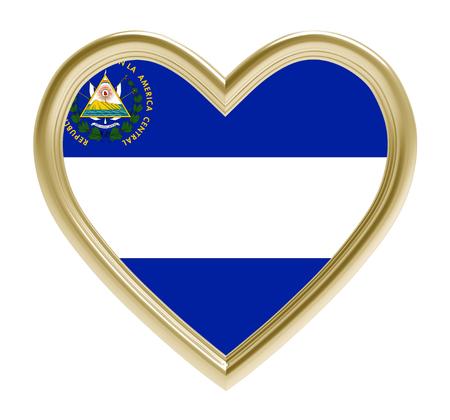 bandera de el salvador: bandera de El Salvador en el corazón de oro aislado en el fondo blanco. Ilustración 3D.