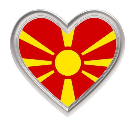 macedonian flag: Macedonian flag in silver heart isolated on white background. 3D illustration.