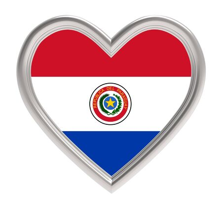 bandera de paraguay: Paraguayan flag in silver heart isolated on white background. 3D illustration.
