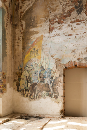 demolish: Destroyed frescoes in Marianne Palace in Kamieniec, Poland. Palace was built in the second half of the nineteenth century.
