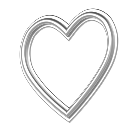 pictureframe: Silver heart picture frame isolated on white. 3D illustration.