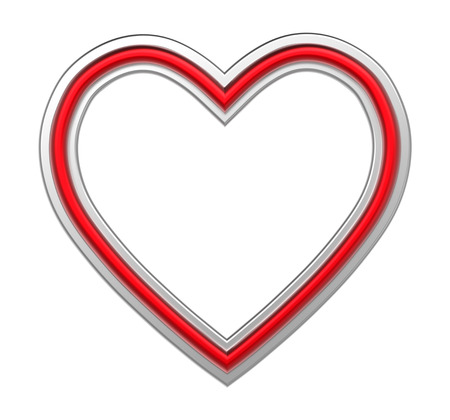 pictureframe: Silver-red heart picture frame isolated on white. 3D illustration.