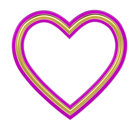 Golden-pink heart picture frame isolated on white. 3D illustration. Stock Photo