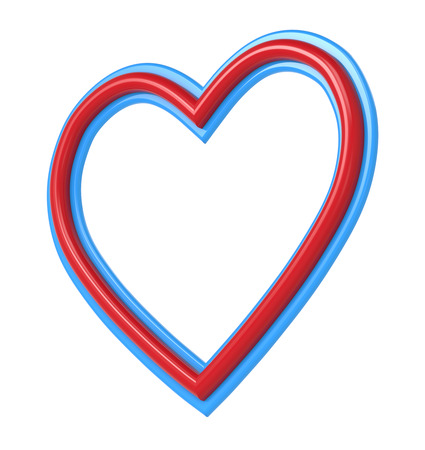 pictureframe: Red-blue plastic heart picture frame isolated on white. 3D illustration.