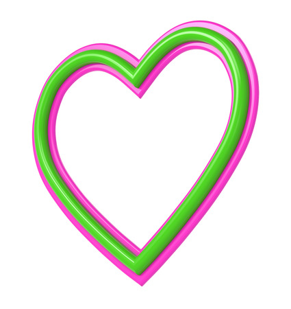 pictureframe: Green-pink plastic heart picture frame isolated on white. 3D illustration. Stock Photo