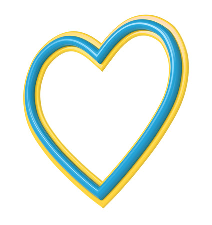 pictureframe: Yellow-blue plastic heart picture frame isolated on white. 3D illustration. Stock Photo