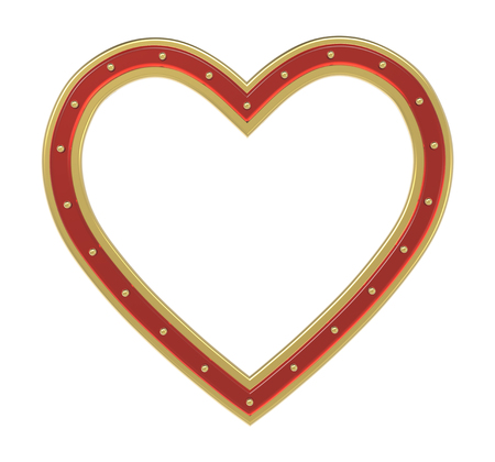 pictureframe: Golden-ruby heart picture frame isolated on white. 3D illustration. Stock Photo