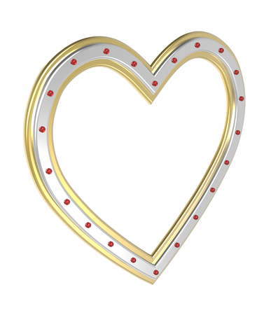 pictureframe: Silver-gold heart picture frame isolated on white. 3D illustration.