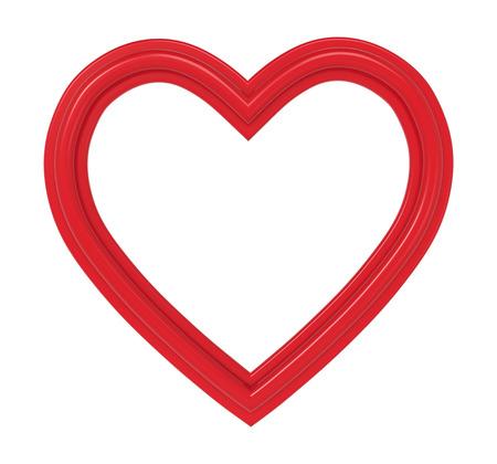 Rotes Herz-Bilderrahmen isoliert auf weiß. 3D-Darstellung.