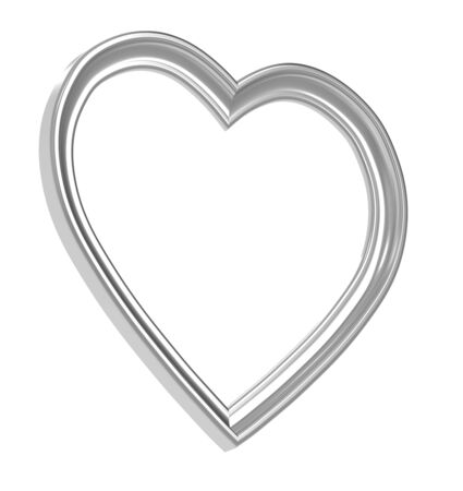 silver picture frame: Silver heart picture frame isolated on white. 3D illustration.