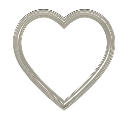 pictureframe: Titanium heart picture frame isolated on white. 3D illustration. Stock Photo