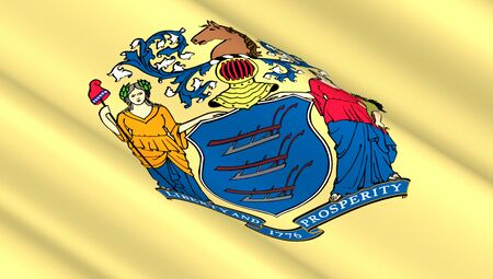 foreign nation: Waving flag of New Jersey state. 3D illustration.