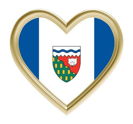 golden heart: Northwest Territories flag in golden heart isolated on white background. 3D illustration.