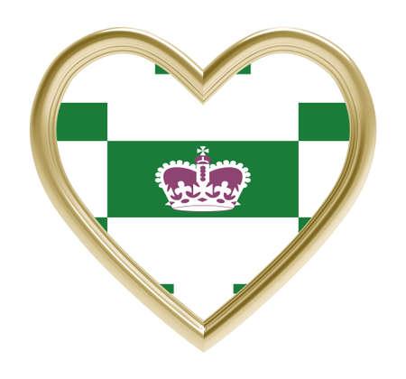 golden heart: Charlottetown flag in golden heart isolated on white background. 3D illustration. Stock Photo