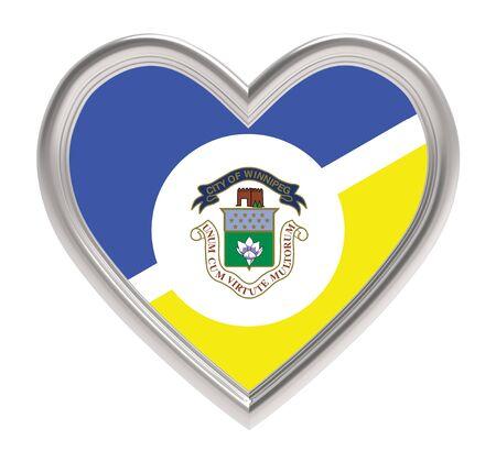 winnipeg: Winnipeg flag in silver heart isolated on white background. 3D illustration.