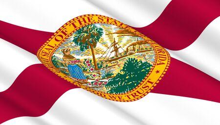florida state: Waving flag of Florida state. 3D illustration. Stock Photo