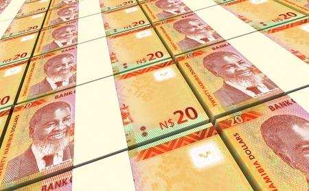 papermoney: Namibian dollars bills stacks background. 3D illustration.