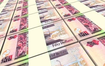 bills: Belizian dollar bills stacks background. 3D illustration.