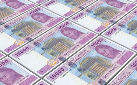 Central African CFA franc bills stacked background. 3D illustration.