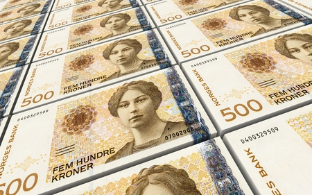 Norwegian krone bills stacks background. 3D illustration.